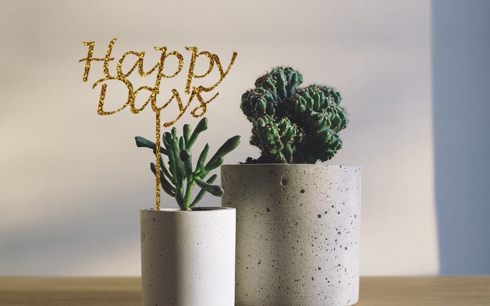 Gold Glitter Acrylic 1 - Happy Days Centerpiece