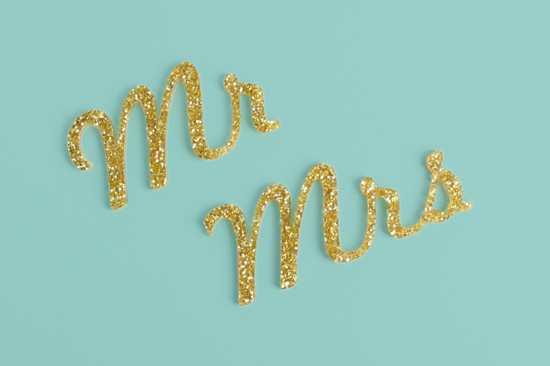 Gold Glitter Acrylic 2 - Mr Mrs Signs