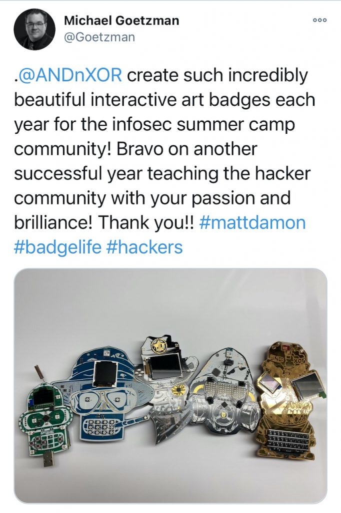 Electronic Event Badges 5 - DEFCON28 - Goetzman Tweet