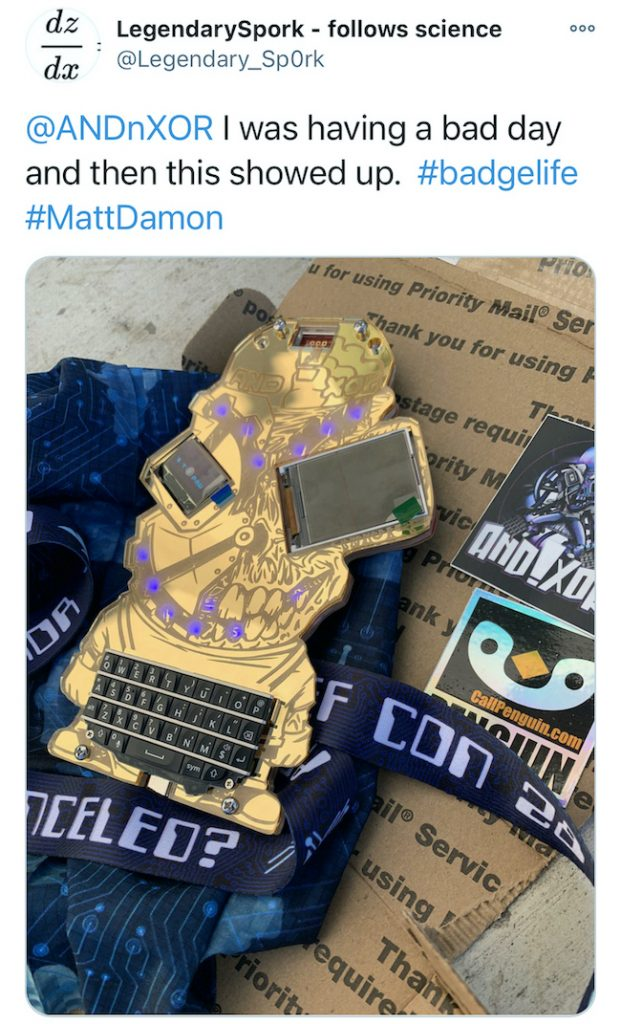 Electronic Event Badges 6 - DEFCON28 - LegendarySpork Tweet