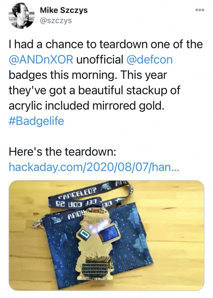 Electronic Event Badges 7 - DEFCON28 - Mike Szczys Tweet