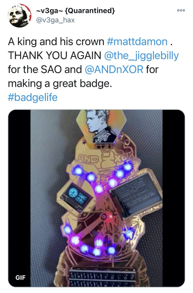 Electronic Event Badges 8 - DEFCON28 - ~v3ga~ {Quarantined} Tweet