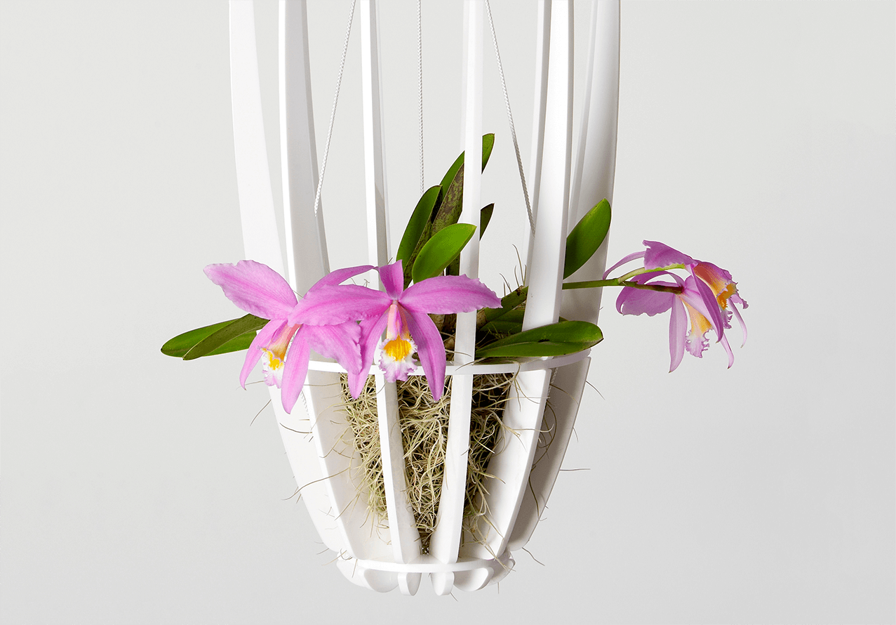 Plastic hanging basket created by laser cutter
