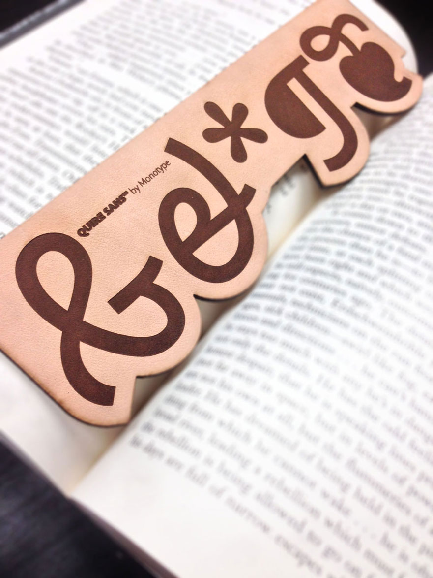 Laser cut leather monotype bookmark