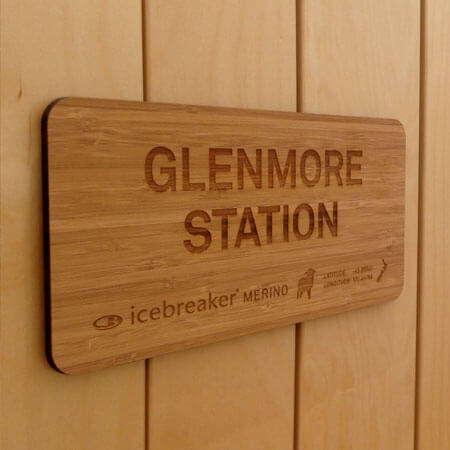 Engraved signage from glenmore station nz