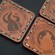 Laser cut and engraved scouts leather patches
